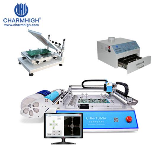 SMT Production Line: Vision Pick and Place Machine Chmt36va + 3040 Stencil Printer + Reflow Oven Chmro-420