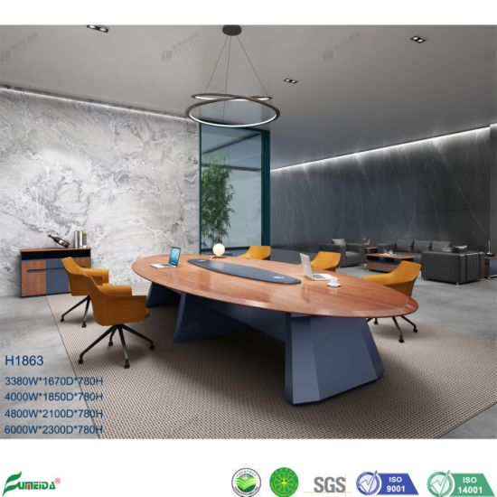 10 Seaters Luxury Gloss Style Wooden Office Oval Executive Meeting Table