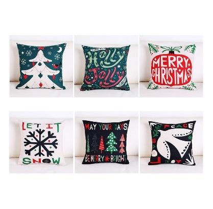 Printed New Design Sofa Pillow Short Velvet Christmas Cushion Cover