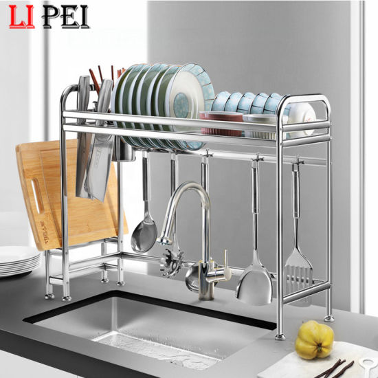 China Multifunctional 2 Tier Stainless Steel Dish Drainer Racks Dish Drying Rack With Utensils Holder For Kitchen Sink Countertop China Dish Rack And Kitchen Rack Price
