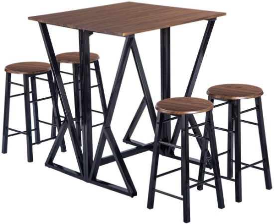 Silver Dining Table And Chairs, China 5 Piece Dining Table Set Kitchen Drop Leaf Table With 4 Bar Stools Dining Set Furniture Walnut China Folding Table And Chairs Folding Dining Table