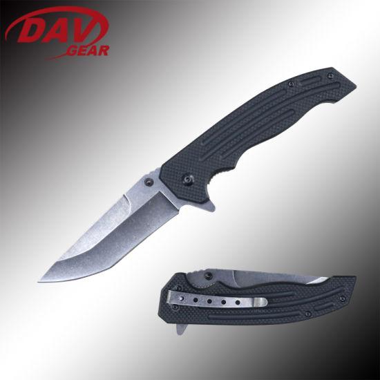 """5""""3Cr13 MOV S. Steel Black Coated Blade Liner Lock Pocket Folding Knife."""