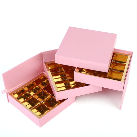 Low Price Wholesales Custom Pink Square Paper Gift Box for Chocolate Candy Packaging
