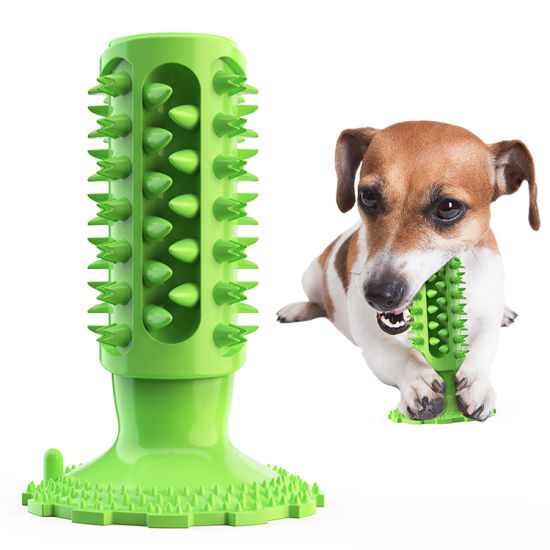 Indestructible Rubber Squeaky Dental Care Pet Toys Toothbrush Aggressive Dog Chew Toys Tough Dog Toy