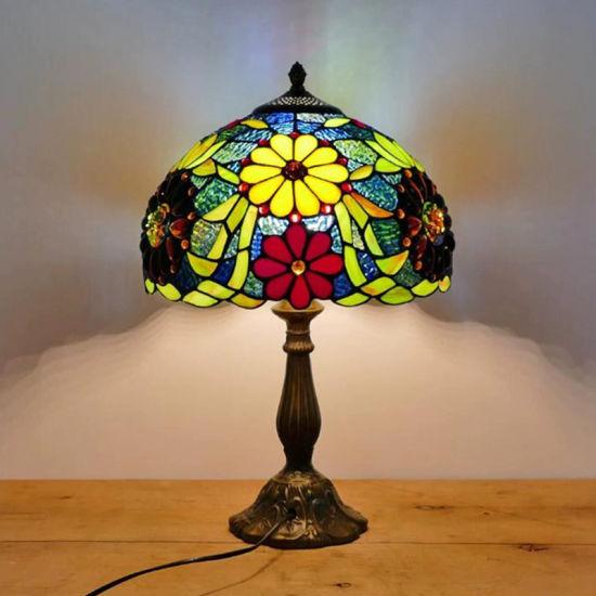 Tiffany Table Lamp 30cm Flower Lampshape E27 Bedroom Bedside Lighting Mosaic Lamp (WH-TTB-70)