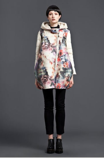 Wholesale Stock Women Appeal Floral Hooded Zipper Down Jacket Coat