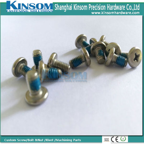 Machine Screw with Cheese Cross Phillips Head A2-70 Stainless Steel with Blue Nylok Nylon Patch