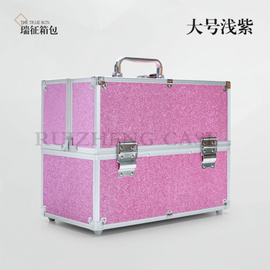 Oem Portable Hard Aluminum Shiny Makeup Artist Vanity Case