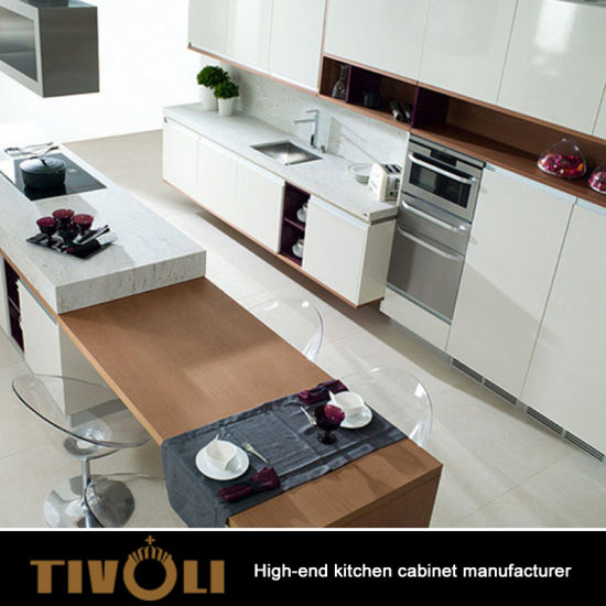 White Painting Kitchen Cabinet Design With Solid Wood Counter Top Tv 0554