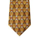Men's Fashion Brown Colour 14mm Jacqaurd Silk Printed Necktie