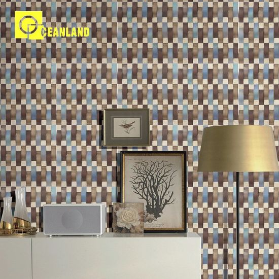 Designer Wallpaper Decorative Brown And Blue Mosaic Tile