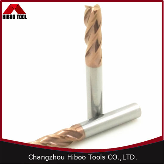 Hiboo HRC58 Solid Square Carbide End Mills with Tisin Coated