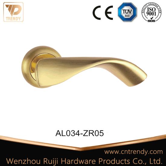 Aluminum Door Hardware Handle Lever Lock with Round Rosette (AL034-ZR05-CL)
