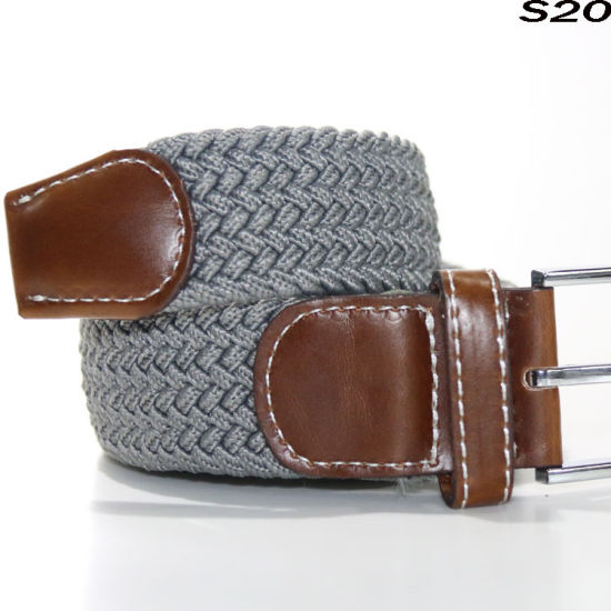 S20 Fashion Durable No Punch Stretch True Leather Knitted Men's Braided Elastic Belt with Ox Horn