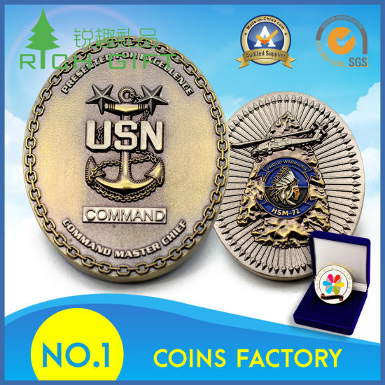 High Quality Custom Metal Zinc Alloy Embossed 3D Anchor Logo Antique Gold Plated Military Army Challenge Coin with Gift Box