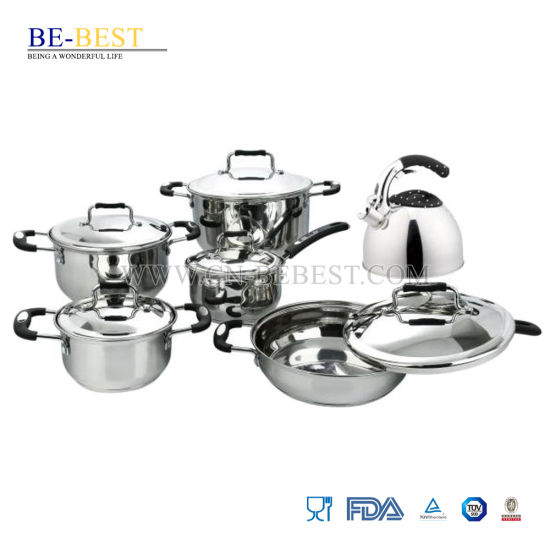 12PCS Stainless Steel Step & Rolled Edge Cookware Set