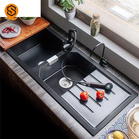 White Quartz Marble Custom Size Double Bowls Kitchen Sink Handmade Sink