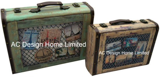 S/2 Decorative Antique Vintage Eiffel Tower Design Printing PU Leather/MDF  Wooden Storage Suitcase Box