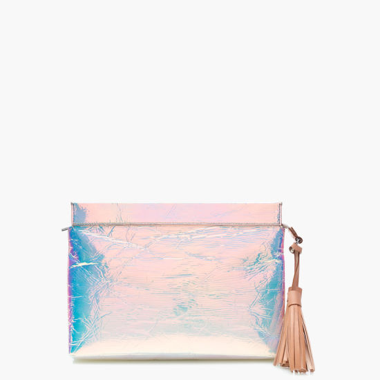 Fashionable Holographic/White PU Clutch Bag Iridescent Pouch Handbag pictures & photos