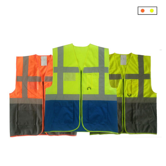 Reflective/Safety/Traffic Hi-Vis Knitted Workwear/Vest with Zipper and D-Ring