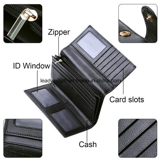 Women RFID Blocking Wallet Trifold Ladies Luxury Leather Clutch Travel Purse pictures & photos