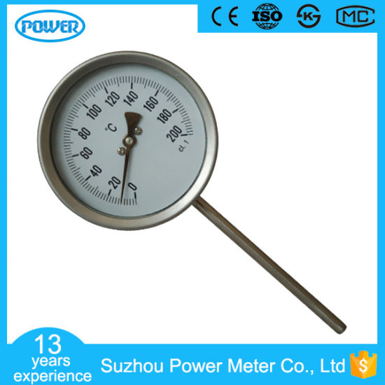 100mm High Quality Bimetallic Thermometer Stainless Steel Temperature Gauge