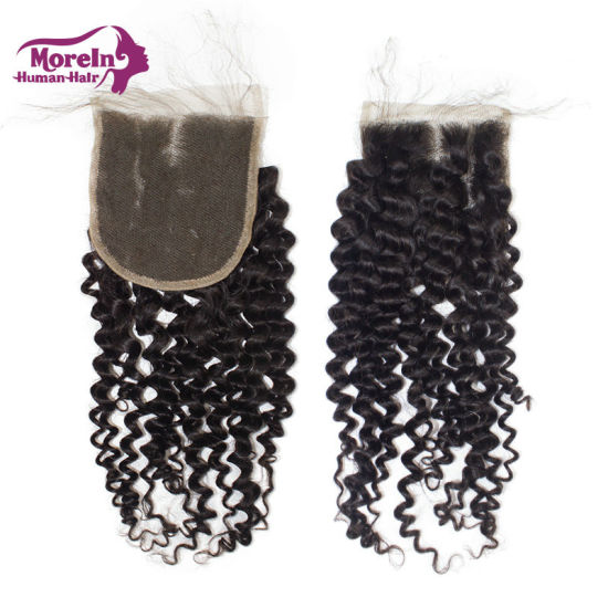 Morein 4X4 Deep Curly Free Part Brazilian Hair Lace Closure Wholesale Cuticle Aligned Human Hair