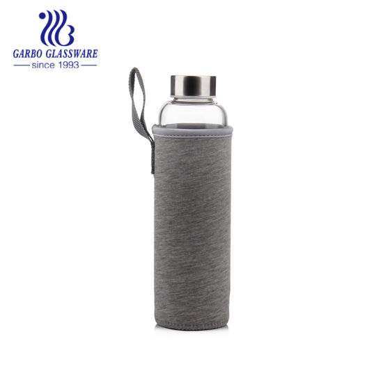 China 28oz Pyrex Glass Water Bottle Portable Bottle with Fabric Lid