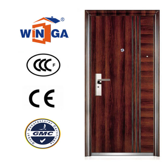 Brown Color Serbia Croatia Winga Style Security Steel Door (W-S-128) pictures & photos