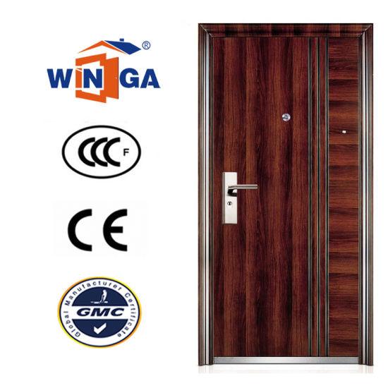 Brown Color Serbia Croatia Winga Style Security Steel Door (W-S-128)