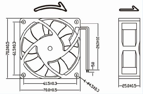 Small Powerful 12V 24V 70X70X25mm DC Fan pictures & photos