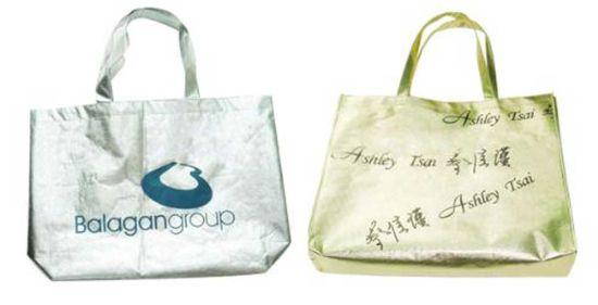 Custom Non Woven Shopping Tote Bag, Shine Golden Silver Film