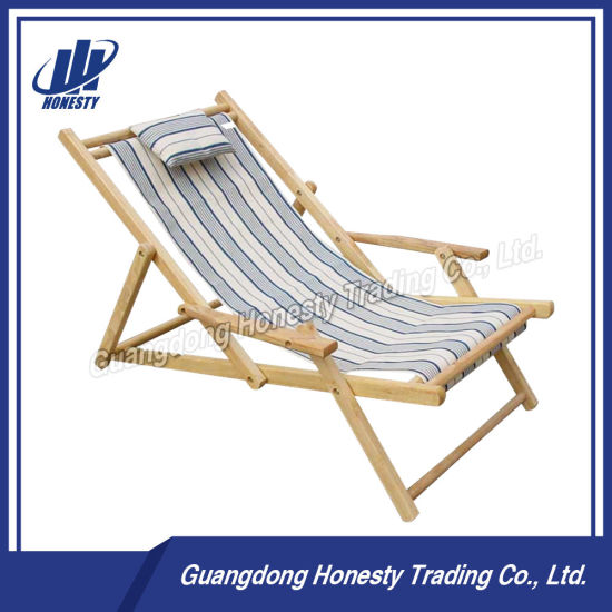 L111 Foldable Reclining Beach Deck Chair With Armrest