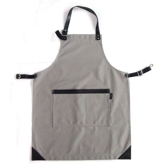 Custom Printed Black Cotton Canvas Kitchen Apron for Men