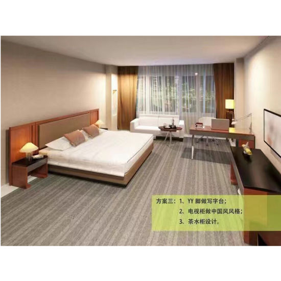 Factory Manufacturer 3 Star Economical Class Hotel Bedroom Furniture King Size Bed