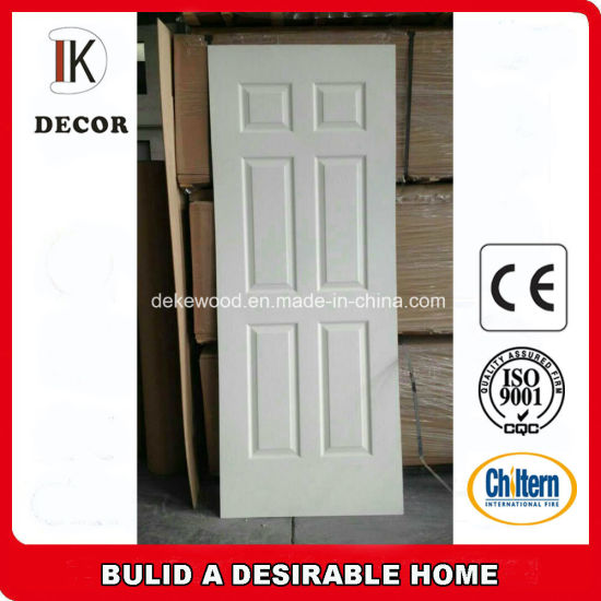 6 Panel Cheap Hollow Core White Primer HDF Moulded Door pictures & photos
