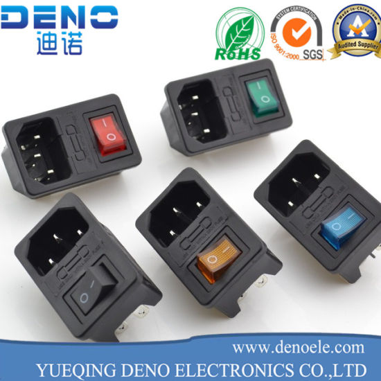 IEC320 C14 AC Power Cord Inlet Socket Receptacle with Rocker Switch on