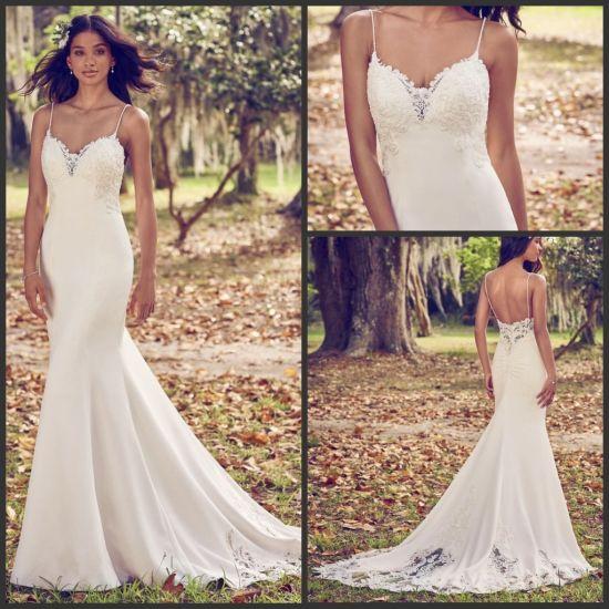 Lace Wedding Dress Spaghetti Mermaid Simple Mermaid Bridal Gown H196