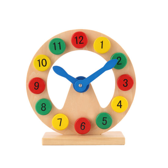 Wooden Numbers Block Colorful Puzzle Clock Baby Kids Preschool Educational Toys