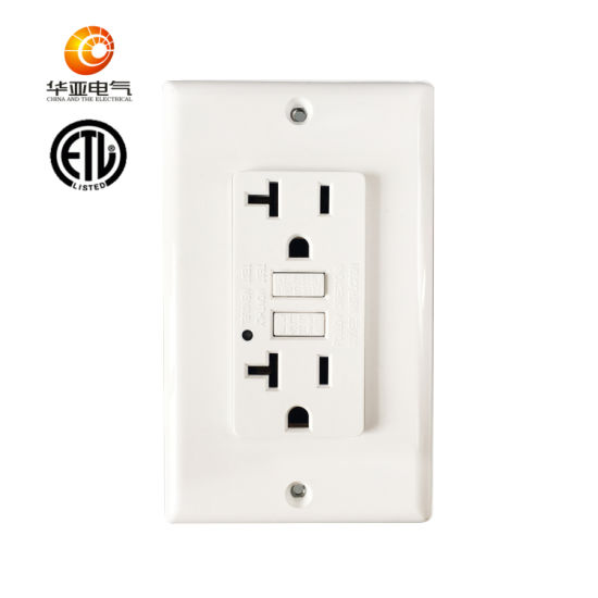 Huaya American High Quality 20A, 125V Without Tamper Resistant and Weather Resistant GFCI Socket with LED Light Indicator, GFCI Outlet, ETL Listed, White pictures & photos