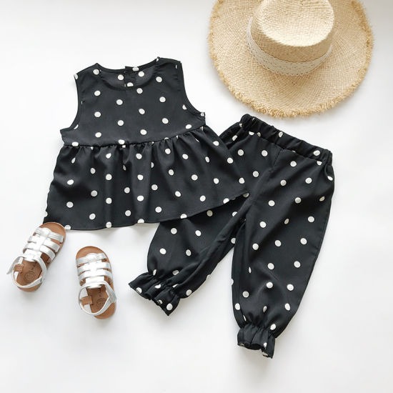 Baby Girls Clothes Polka DOT Vest Suit Baby Summer Two Pieces Set