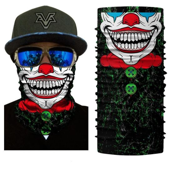 Clown Face Shield Tube Neck Gaiter Mask Polyester Seamless Bandana pictures & photos