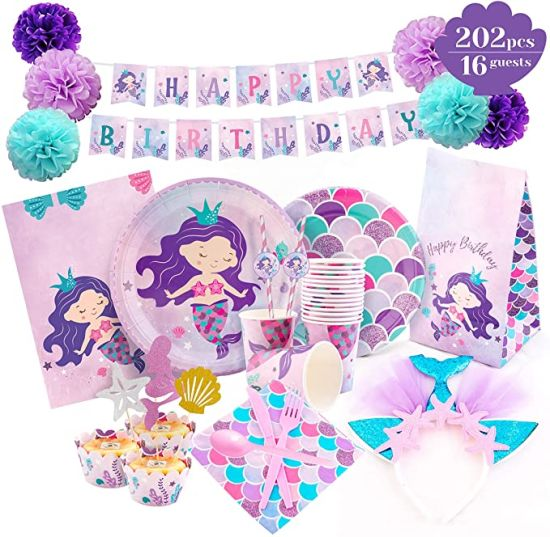 Mermaid Party Decorations - Mermaid Birthday Supplies Serves 16 Happy Birthday Banner Plates Headband Cupcake Wrappers & Toppers