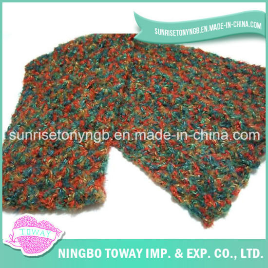 China Weaving Cotton Yarn Winter Sweater Boucle Knitted Scarf