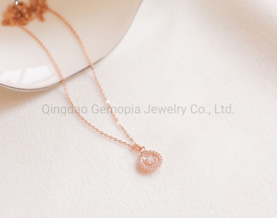 925 Silver 14K 18K Gold Cable Chain Necklace with Circle Shape Cubic Zirconia Fashion jewellery