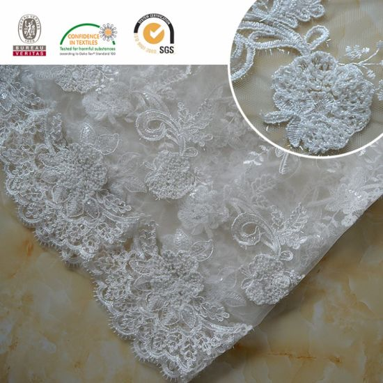 Wedding Dress Lace Sequins Embroidery with Beads