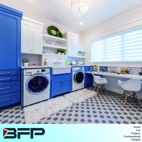 China Blue Base Cabinet Matchs White Wall For Washhouse