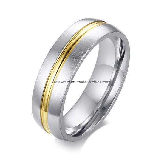 New Gold Groove Men Models Tungsten Carbide Wedding Band Ring Wholesale Jewelry pictures & photos