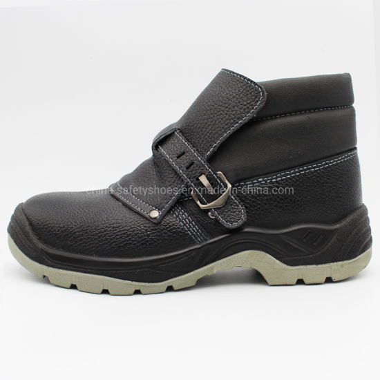 PU Sole Black Embossed Leather Safety Shoes with Dual Density