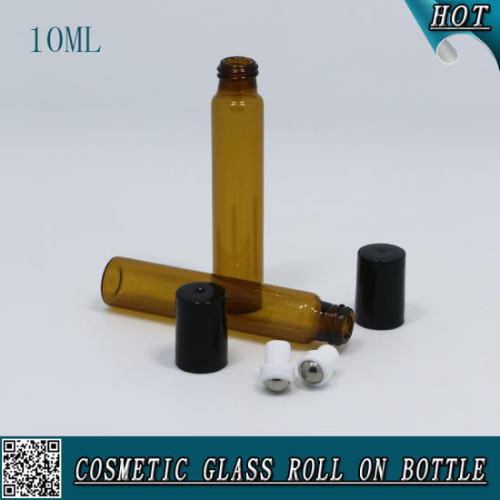 10ml Amber Glass Roll on Bottle with Black Plastic Cap and Stainless Steel Roller pictures & photos